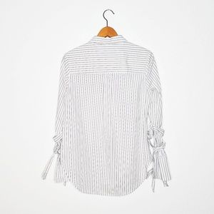 1. State Tops - 1. State Striped Wrap Sleeve Button Down Shirt - M